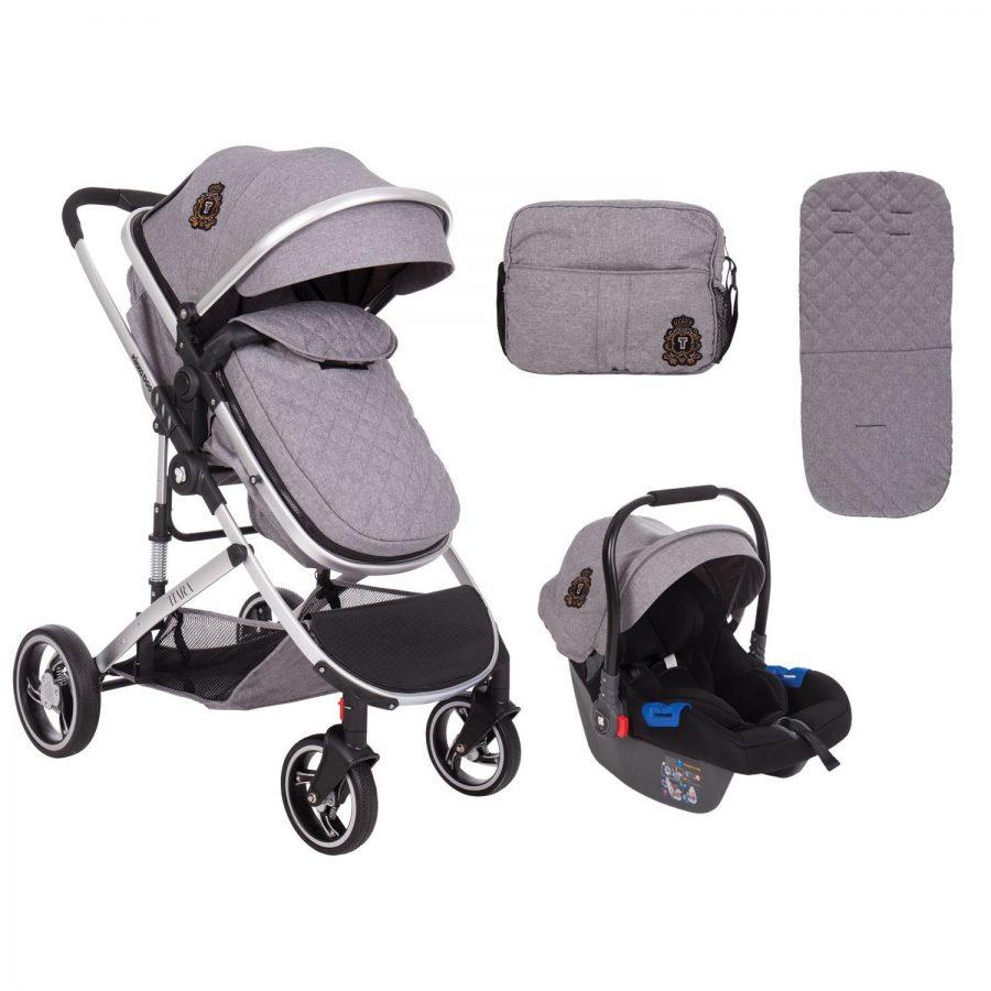 Кikka Boo Комбинирана бебешка количка 3 в 1 Tiara Dark Grey