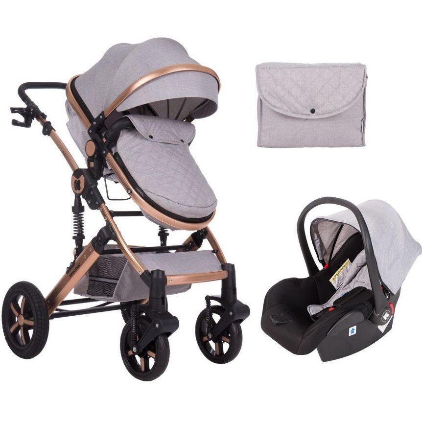 Кikka Boo Комбинирана бебешка количка 3 в 1 с трансф.седалка Darling Light Grey 2020
