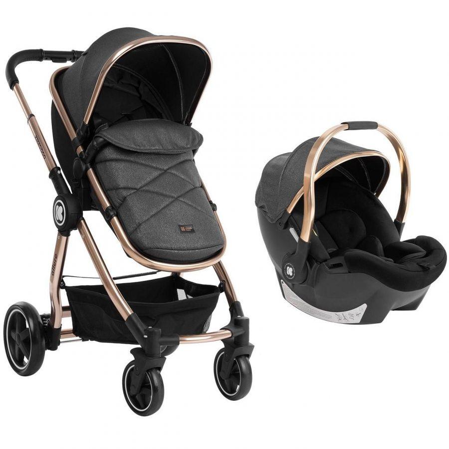 Кikka Boo Комбинирана бебешка количка 3 в 1 Allure Black gold chrome