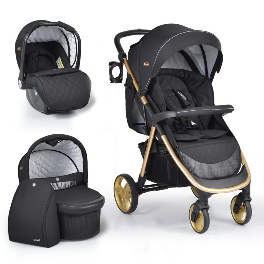 Cangaroo Комбинирана детска количка NOBLE 3в1 Черна