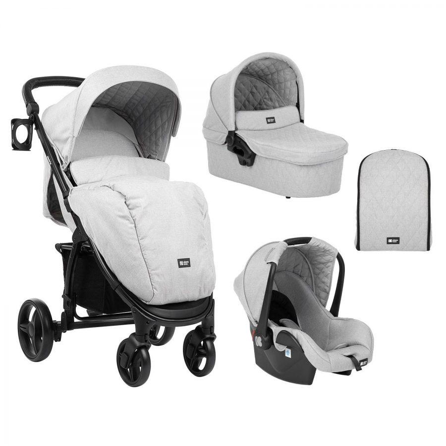 Кikka Boo Комбинирана бебешка количка 3 в 1 Madrid Light Grey Melange 2020