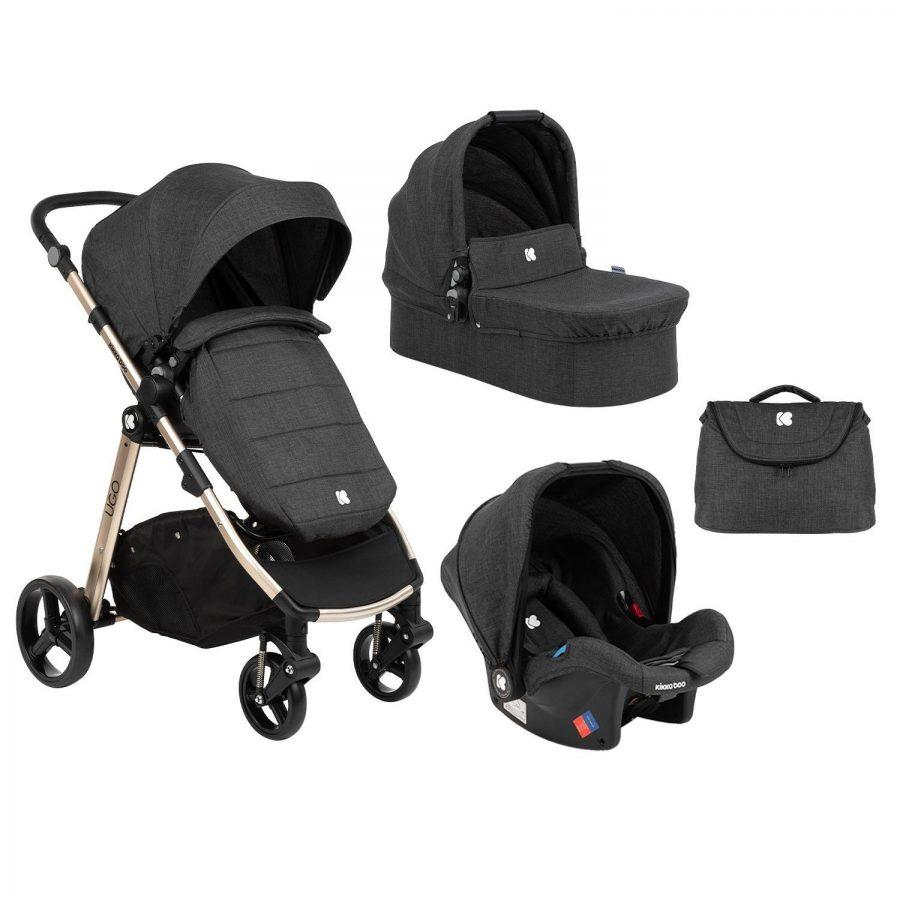 Кikka Boo Комбинирана бебешка количка 3 в 1 Ugo Black Melange 2020