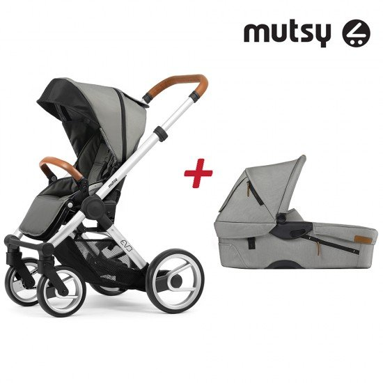Пакет Шаси Mutsy Evo UN Standard + Кош за новородено и Седалка и сенник Mutsy Evo Urban Nomad Light Grey
