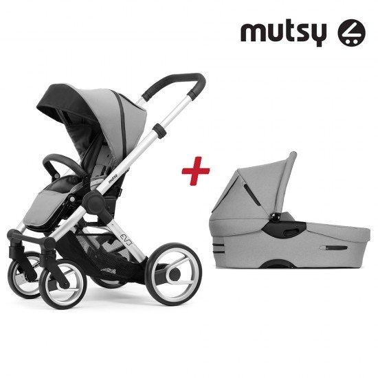Пакет Шаси Mutsy Evo Bold Standard + Кош за новородено и Седалка и сенник Mutsy Evo Bold Pebble Grey