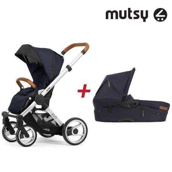 Пакет Шаси Mutsy Evo UN Standard + Кош за новородено и Седалка и сенник Mutsy Evo Urban Nomad Deep Navy