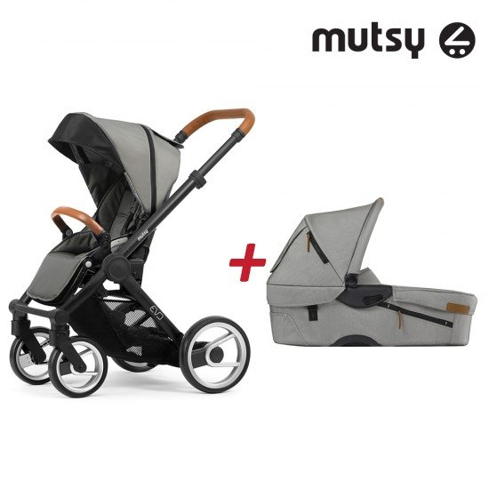 Пакет Шаси Mutsy Evo UN Black + Кош за новородено и Седалка и сенник Mutsy Evo Urban Nomad Light Grey